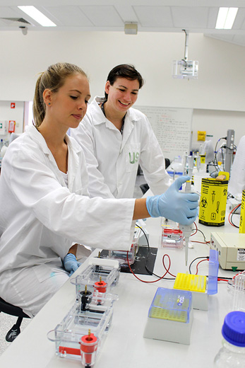 Researchers conducting experiment