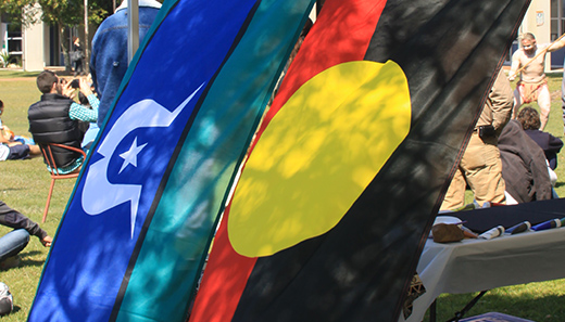 The Torres Strait Islander and Aboriginal flags hanging in the foreground with a ceremony being held in the background.
