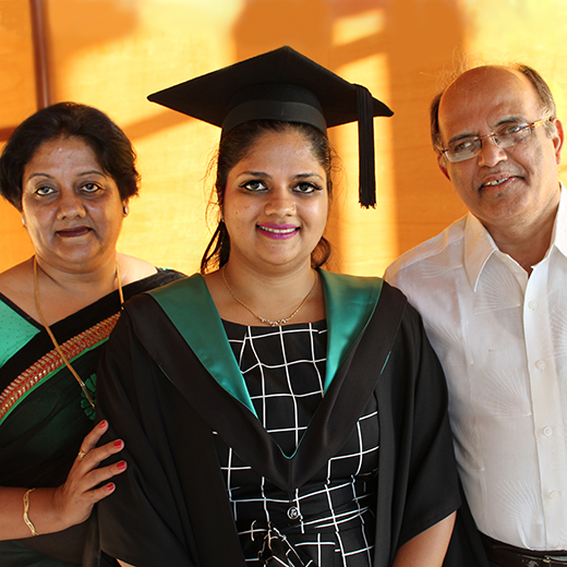 Urmila Dani with her parents Anjali and Satish