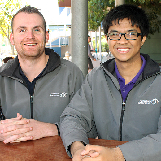 USC Science Education students Josiah Bishop and Raymart Walker on their research trip to the Australian Synchrotron.
