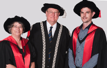 USC Vice-Chancellor Professor Greg Hill with Dr Claudia Baldwin and Dr Scott Cummins