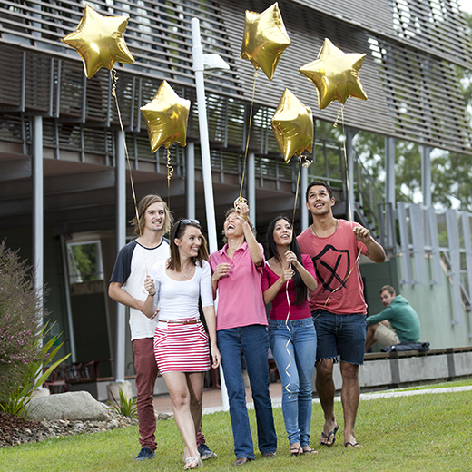 USC students celebrate the University's five-star score in the Good Universities Guide.