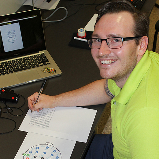 USC Honours student Kai Morris at a testing station for his study project.