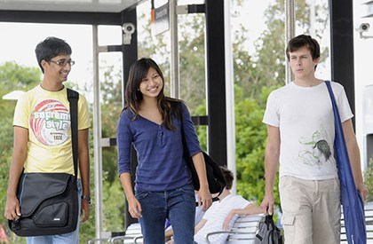International students at Sippy Downs transit centre