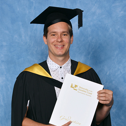 Damien Murphy recently graduated from the University of the Sunshine Coast with a double degree in Arts and Education (Secondary), is working as a full-time teacher at Kepnock State High School.