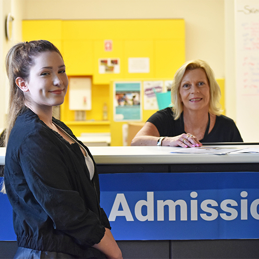 Allison Quinn from USC Gympie helping St Patrick's College Year 12 student Tamsin Searles with admissions advice during a recent visit to the campus