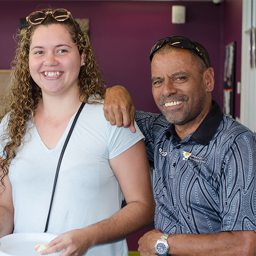 USC Indigenous Services Community Engagement Officer Les Raveneau with student Ashleigh Clarke.