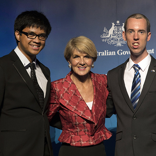 Raymart Walker, left, and Joseph Davies with Foreign Affairs Minister Julie Bishop at the scholarship presentation. Credit DFAT.