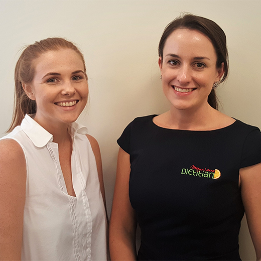 USC graduate dietitians Megan Leane (right) and Taleisha Bennier at Ms Leane's dietitian practice in Gladstone.