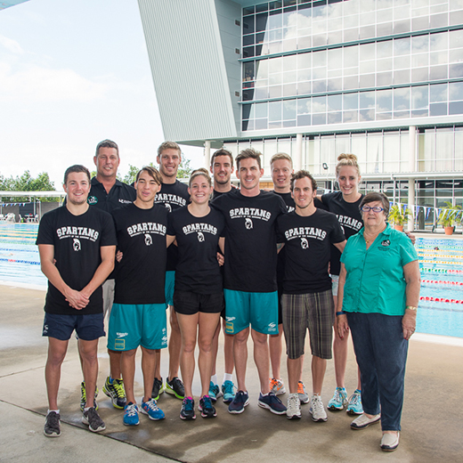 Some members of the USC Spartans squad taken last year with coach Chris Mooney and former coach Jan Cameron.
