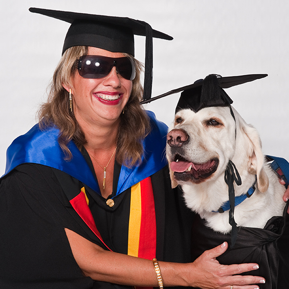 Legally blind student Nicole Damarra and guide dog Nev.