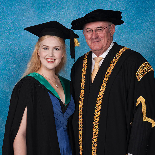 Chelsea Wallis, who will receive a University Medal for a grade point average of a 6.87 out of a possible 7, along with a Bachelor of Laws (Honours).