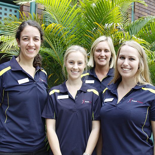 2016 graduates Catherine Moyes, Alanah Davies and Elise Wright recently joined 2012 graduate Samantha Storey as OT staff at Cooroy's Eden Rehabilitation Hospital.