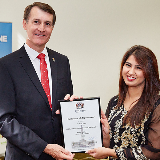 USC Southbank student Maham Aqeel with Brisbane Lord Mayor Graham Quirk at her appointment ceremony.