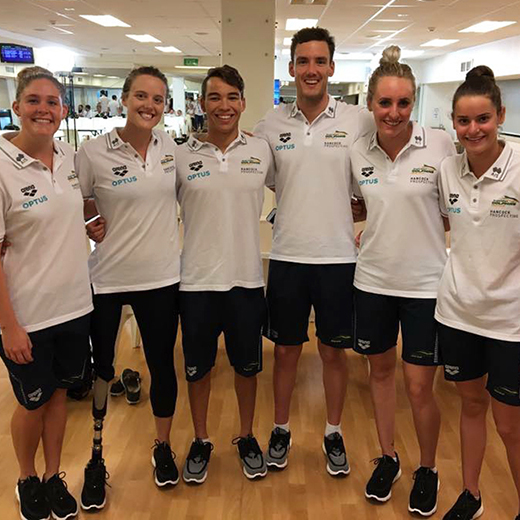 The six USC Spartans who have made the Australian teams - from left Leah Neale, Ellie Cole, Braedan Jason, Blake Cochrane, Taylor McKeown and Kaylee McKeown.