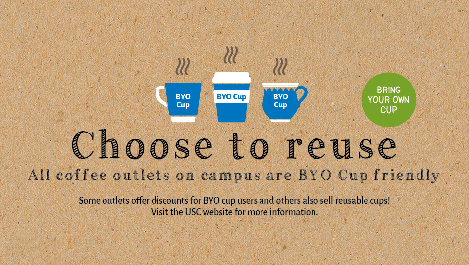 Choose to reuse: all coffee outlets on campus are BYO cup friendly
