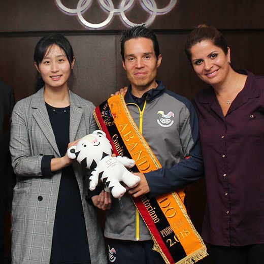 USC student Klaus Jungbluth with representatives from the South Korean Embassy and the Ecuadorian Ministry of Sports