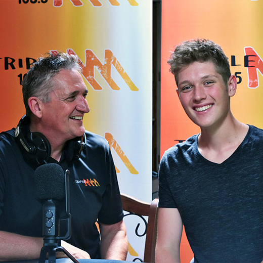 USC Journalism student Liam Bland with his father, Triple M breakfast announcer Andrew Bland