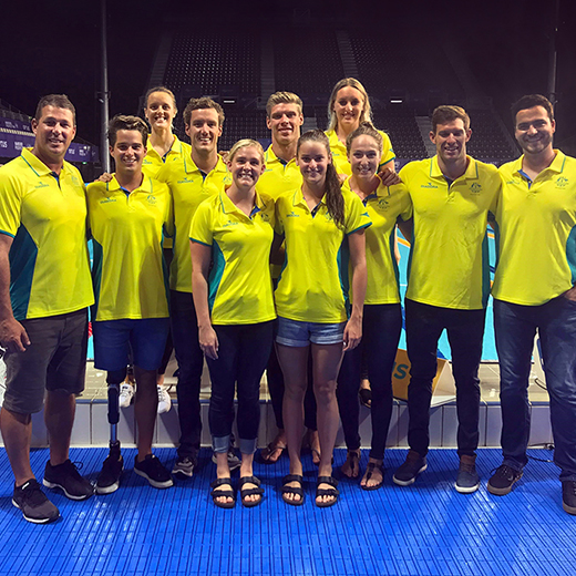 USC Spartans swimmers and coaches who were selected to represent Australia at the Commonwealth Games on the Gold Coast in April