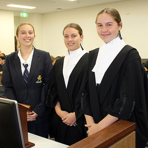 Chancellor State College's mooting team Maddi Thomson, Tess Barnsley and Georgia Gillespie