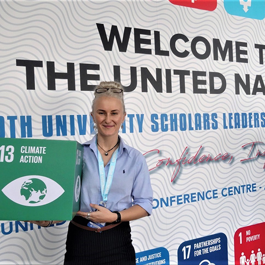 USC Business graduate Kate Whitaker attends the United Nations University Scholars Leadership Symposium for the world's most promising young leaders.
