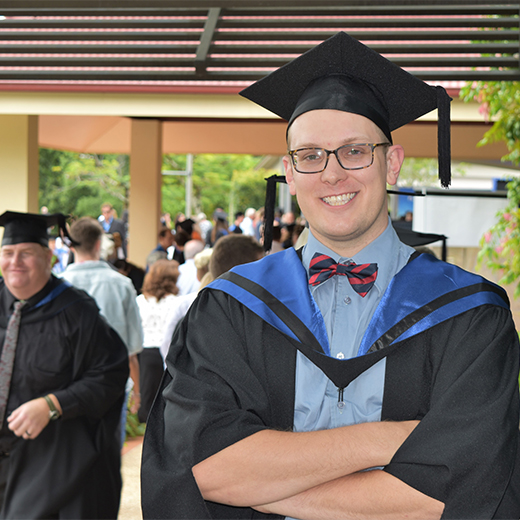 Hervey Bay music teacher Caleb Rostedt graduates from USC with a Master of Professional Practice (Creative Writing)