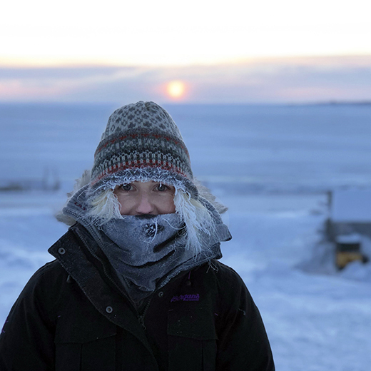 USC student Kristin Emanuelsen rugs up during her time in the Canadian Arctic