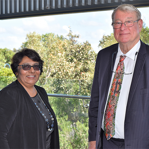 Butchulla Aboriginal Corporation Chair Gayle Minniecon and USC Vice-Chancellor Professor Greg Hill at USC's Fraser Coast campus.