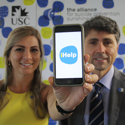 Dr Amanda Clacy and Professor Jim Lagopoulos launch the iHelp app at Thompson Institute