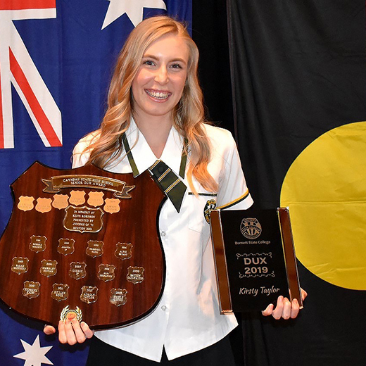 Gayndah dux and Junior Citizen of the Year Kirsty Taylor will begin a Nursing Science degree at USC's Sunshine Coast campus