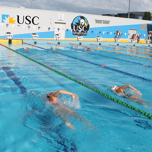 Spartans swimmers training at the USC aquatic centre
