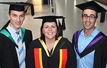 Chancellor's medallists, from left, Manuel Barth, Marnee Shay and Daniel Meloncelli