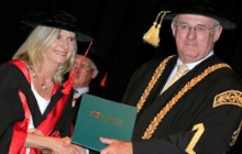 Maureen O'Nell with Chancellor John Dobson